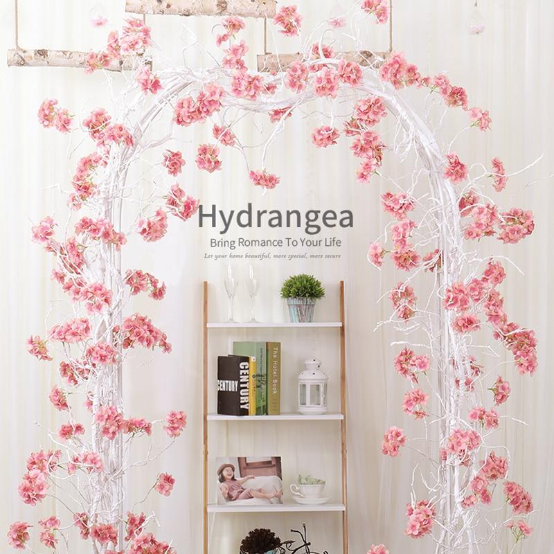 Vigne décoration soie hortensia vigne partie romantique mur décor rotin soie guirlandes fleurs artificielles couronne de mariage décoration