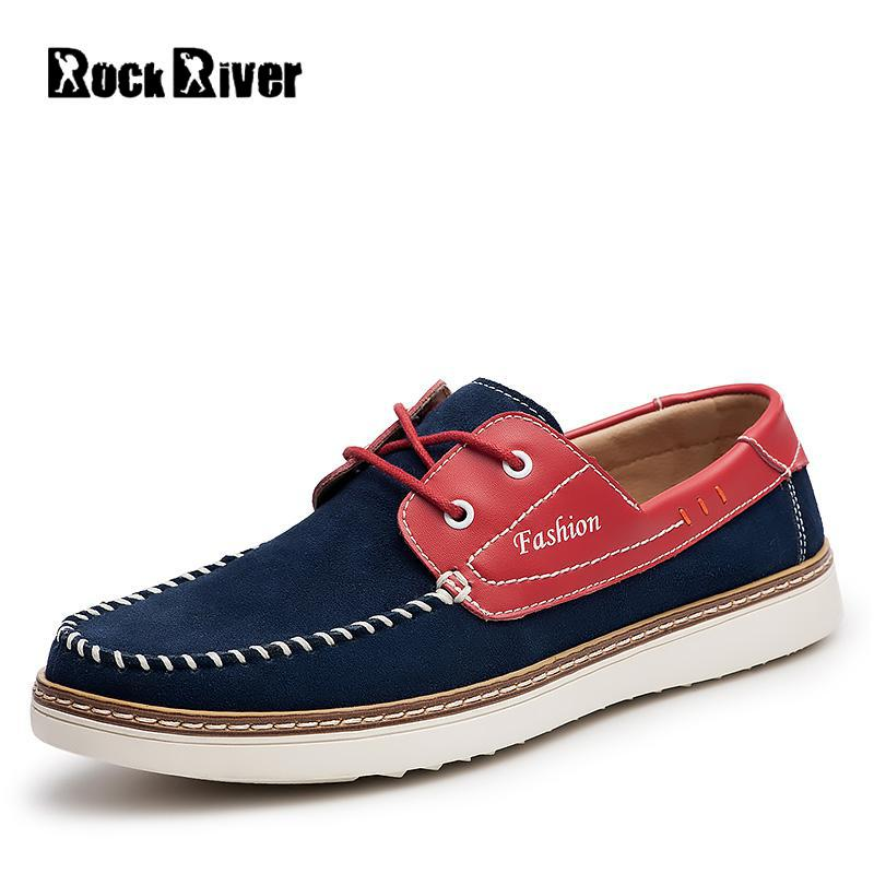 цены 2017 Genuine Leather Men Loafers Cow Suede Leather Moccasins Men Luxury Designer Mens Shoes Casual Lace-up Thick Sole Boat Shoes