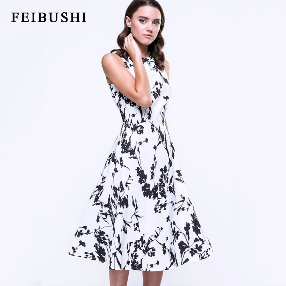 FEIBUSHI Women Sexy Vintage Summer Robe Retro Swing Casual 50s Floral Printed Courtly Boat Neck Skater Dress
