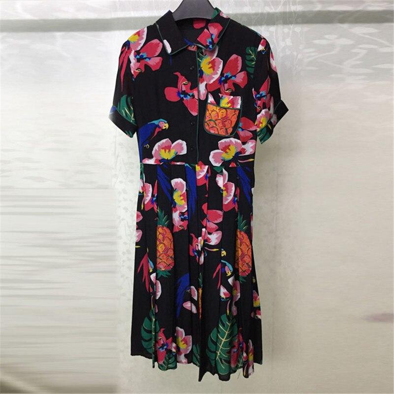 Robe noire pour femmes à manches longues en soie imprimé robe pour dame fête d'été 2108 nouvelles femmes robe-in Robes from Mode Femme et Accessoires    1