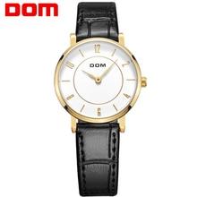 DOM mujeres estilo marca de lujo impermeable de los relojes de cuarzo reloj de la enfermera relojes mujer reloj de oro de cuero G-31