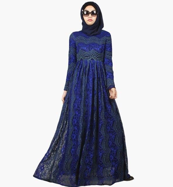 2016 Мода Мусульманская Абая Дубай Абая Джилбаба Исламская Одежда Для Женщин-Мусульманок Djellaba Мусульманского Платье Цветочный Принт кружева абая