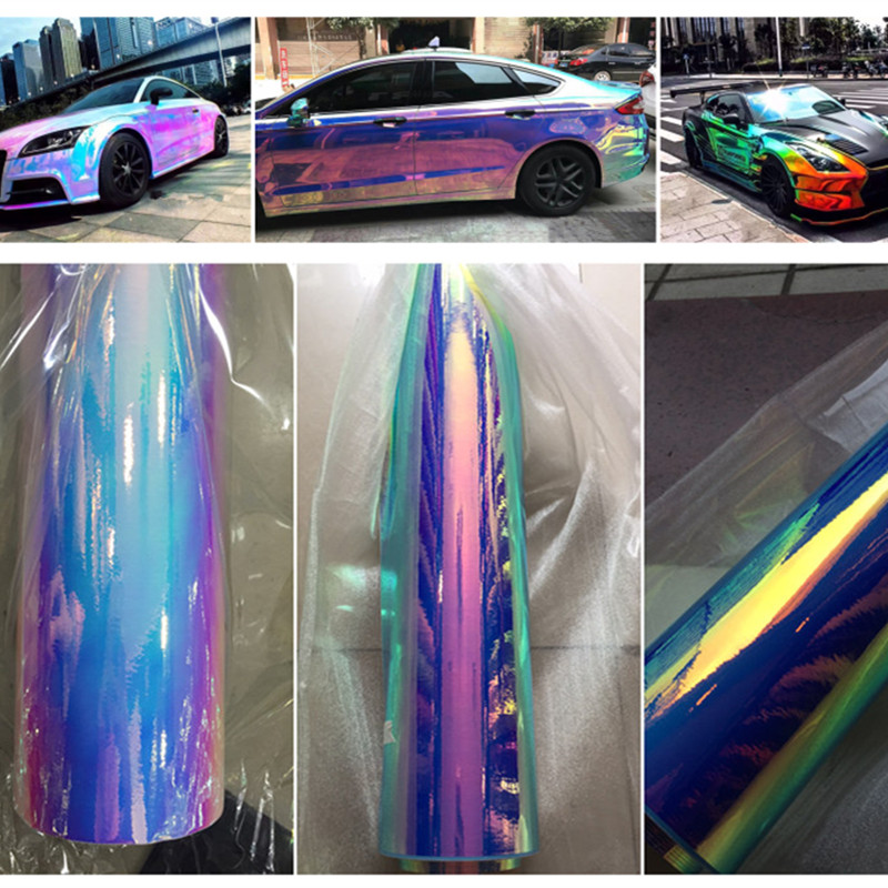 Fashionable Car Vinyl Wrap Chrome Holographic Rainbow Film Car Wrap Vinyl Sticker bubble free 1.35*20m/roll quality guarantee silver chrome vinyl film for car wrapping sticker with air bubble free 20m roll