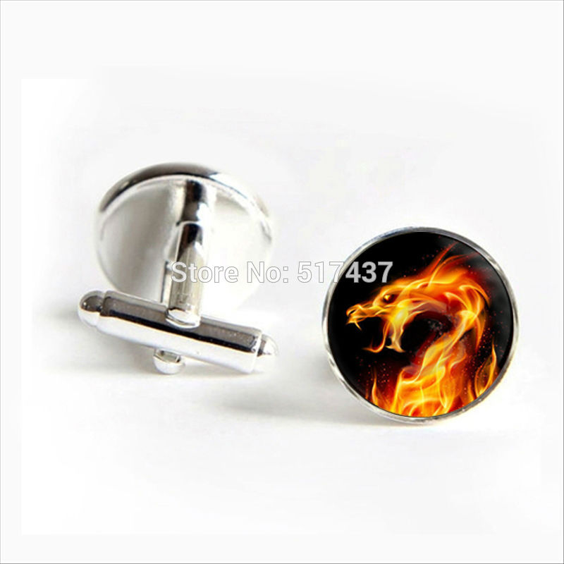 2017 wholesale Burning Dragon Cufflinks Burning Dragon Cuff links Shirt Cufflinks For Mens Dragon Cufflink