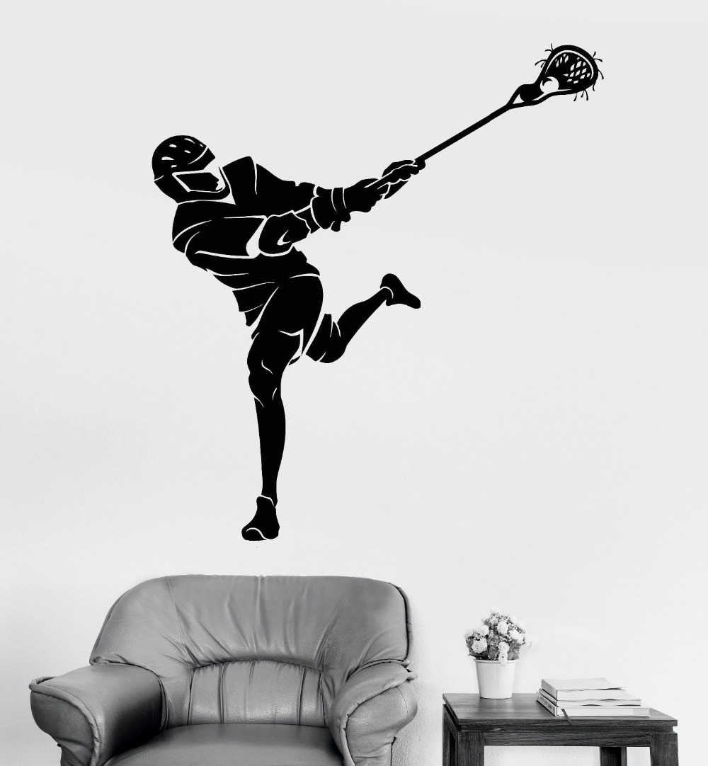 New Vinyl Wall Sticker Lacrosse Player Sports Fan Art Stickers For Living Room Mural Sofa Background Wall Decor 3D Poster LA781