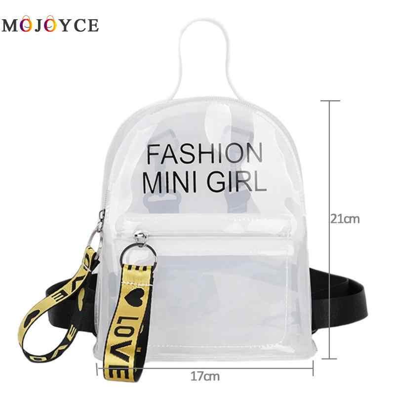 5c20ebdc309 ... Mini Size Transparent Women Backpacks Clear PVC Teenager Girls Zipper  Student School Backpack Travel Bag Mochila