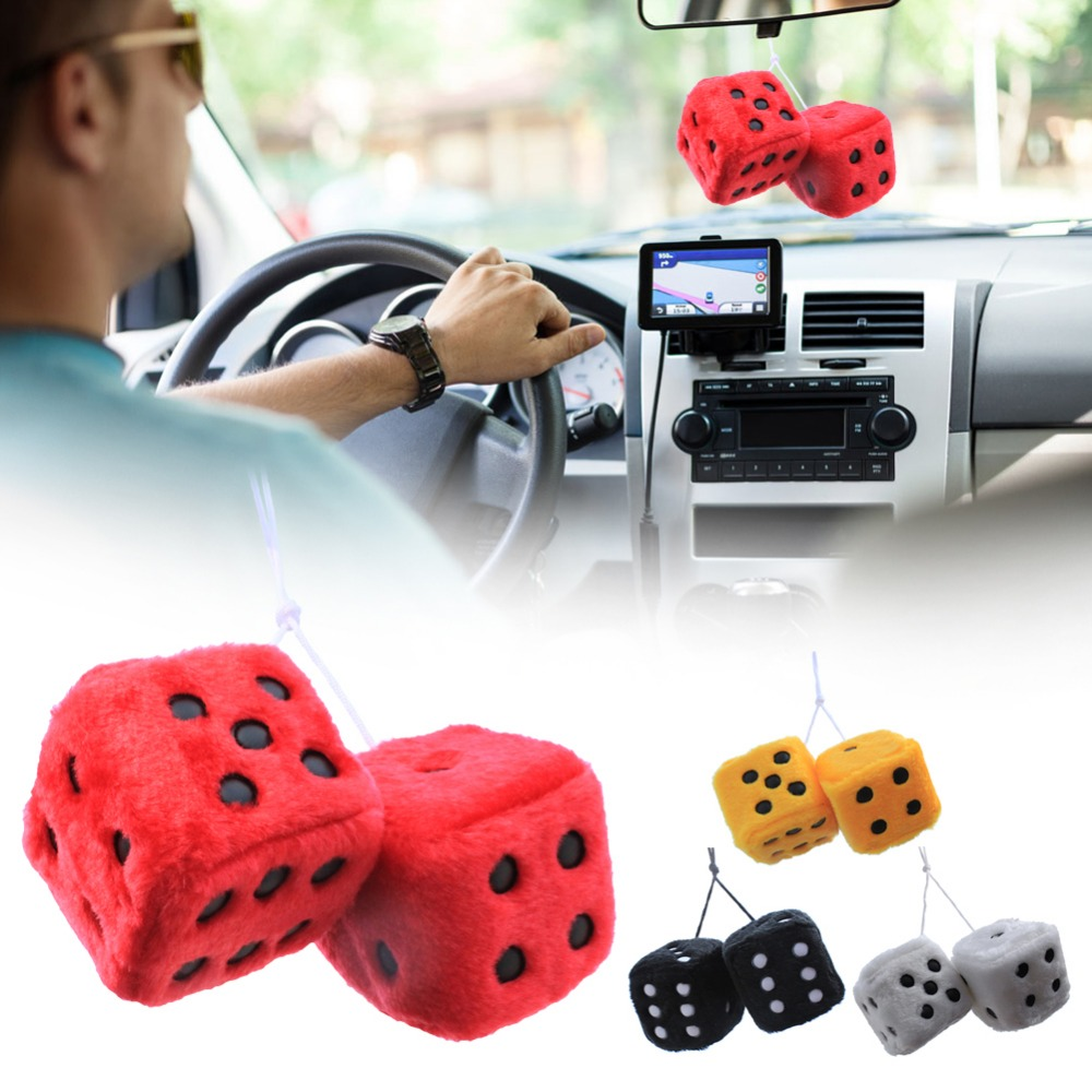 Accessories Tech Auto Vintage Mirror Red Dots Fuzzy Plush Dice Car Hanging