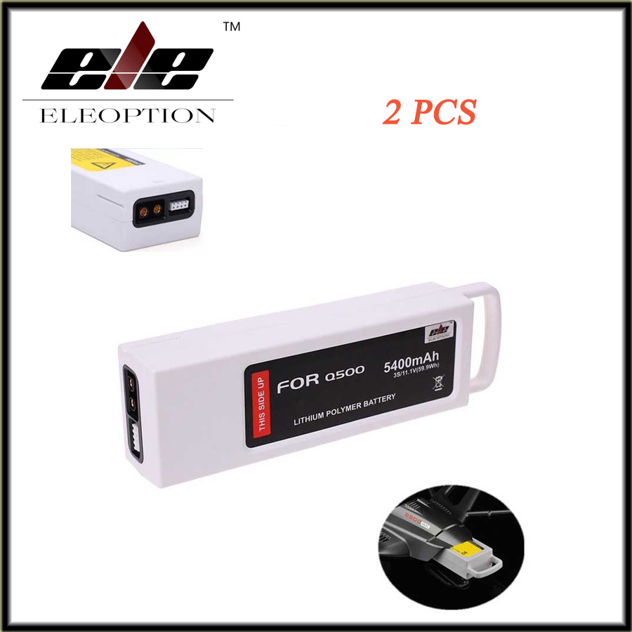 ELEOPTION 2 PCS New 5400mAh 11.1 Volt Lipo Battery For Yuneec Q500 Series RC Drone 11.1V 3S / 3-Cell  High Quality morpilot 2pcs 11 1v 3s 6300mah 4k 10c lipo battery for yuneec typhoon q500 q500 4k high performance with charging protection