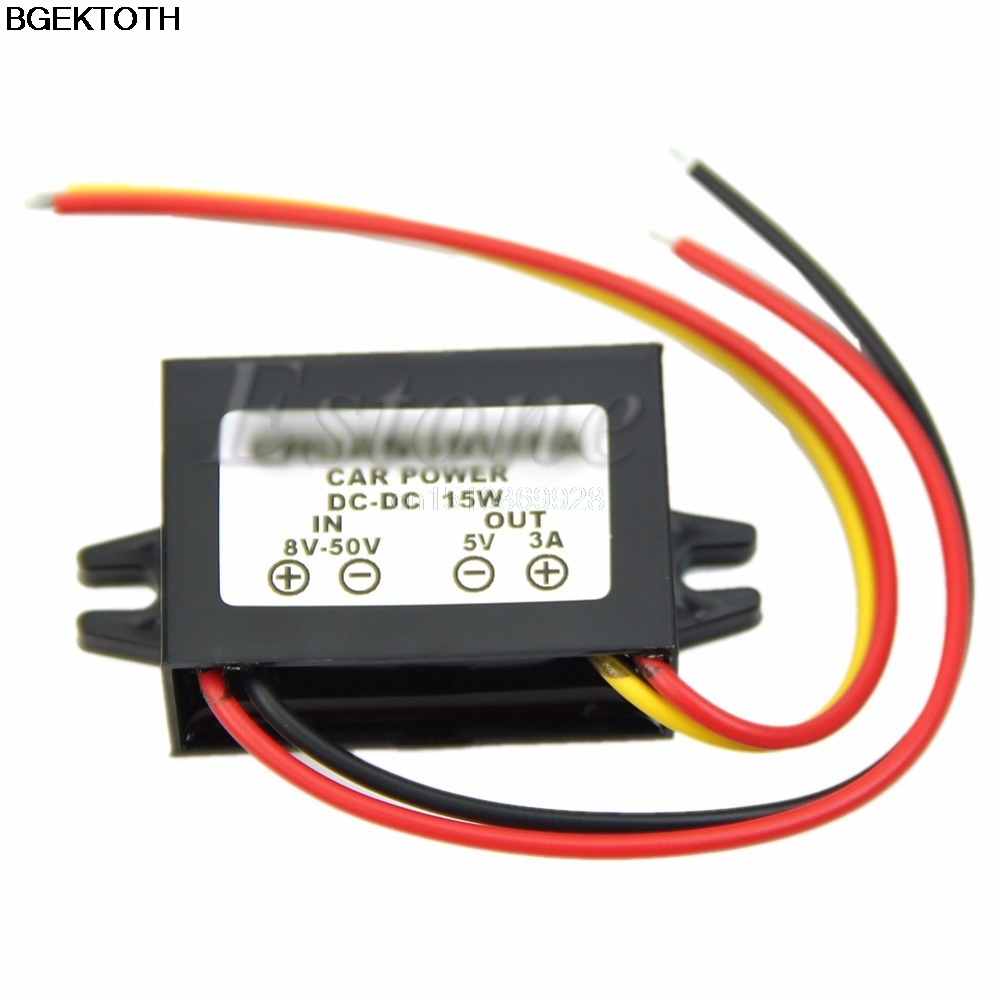 New DC Waterproof <font><b>12</b></font>/24V to 5V 3A 15W Buck Step-Down Converter Module Car Power image