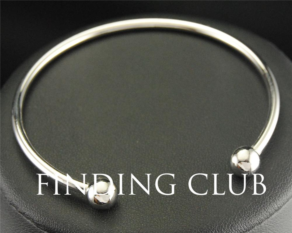 5pcs Rhodium Plated Copper Expandable Adjustable Cuff Bangle Bracelet With  Screw Ball Clasp Cape Cod Diy Jewelry Findings Ba12