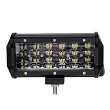ECAHAYAKU 2 pcs 7Inch 72W 7200LM LED Work Light 12v 24v Bar for offroad ATV SUV waterproof truck 4x4 4WD boat fog driving light