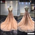 Superar melhor uma linha longa rosa vestido plissado lace V vestidos de festa Formal vestido de casamento elegante
