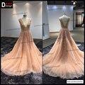 Superar superventas de una larga línea vestido de noche rosado de encaje plisado v-cuello baile vestidos elegantes vestidos formales de boda del vestido
