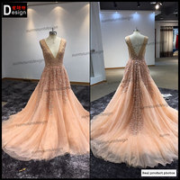 surmount Best Selling A line Long pink Evening Dress lace Pleat V-Neck Prom Dresses Elegant Formal Gown Wedding Party