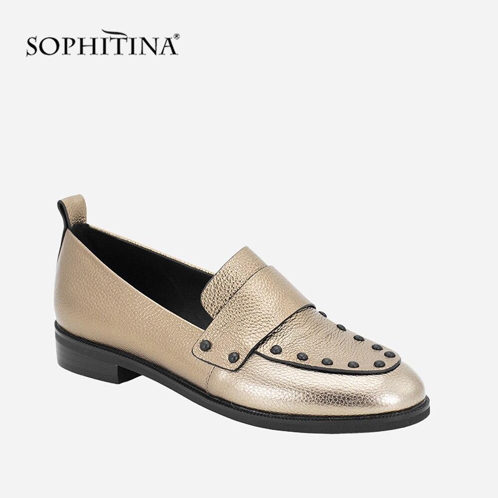SOPHITINA femme chaussures Top qualité fait à la main en peau de mouton décontracté casual appartements bout rond talon bas automne en cuir véritable chaussures plates pour femme P11