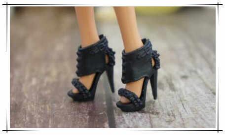 2020 Nguyên Bản 1 Đôi Giày Sneaker Nữ Thời Trang 1/6 Búp Bê Giày Sandal Đen Giày Búp Bê Bằng Phẳng Giày Cho Búp Bê Barbie 1/6