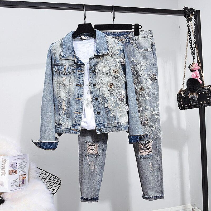 Heavy embroidery beading Trend cowboy coat jean women suits spring two piece sets denim holes pants 2 piece set woman suits 2XL