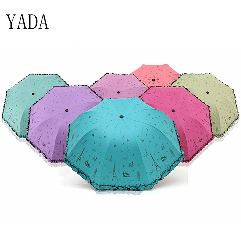 YADA Tower Folding Charms Umbrella Rain Women uv Black Coating High Quality Brand Windproof Umbrellas Best Seller YS082