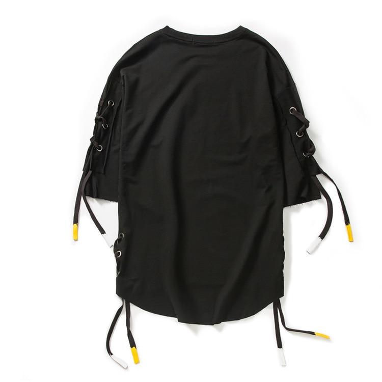 ABOORUN Men's Hip Hop T-shirt Rule Ribbons Decoration Printed Tees High Street Original Loose Short Sleeve Shirts for Male R149 36