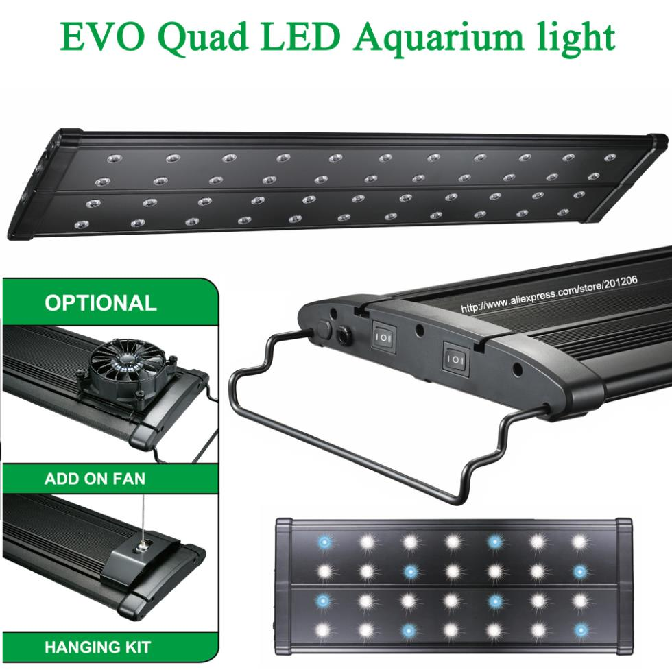 Nano led aquarium fish tank lighting - 36 48 90 120cm Mhx 220w Marine Coral Reef Cichlid Plant Freshwater Aquarium Aquatic Fish Tank Led Light Lamp Lighting Fixture