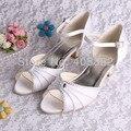(20 Colors)Wedopus Branded Sandals Wedding Women White Satin Low Heel Pumps Large Size 10