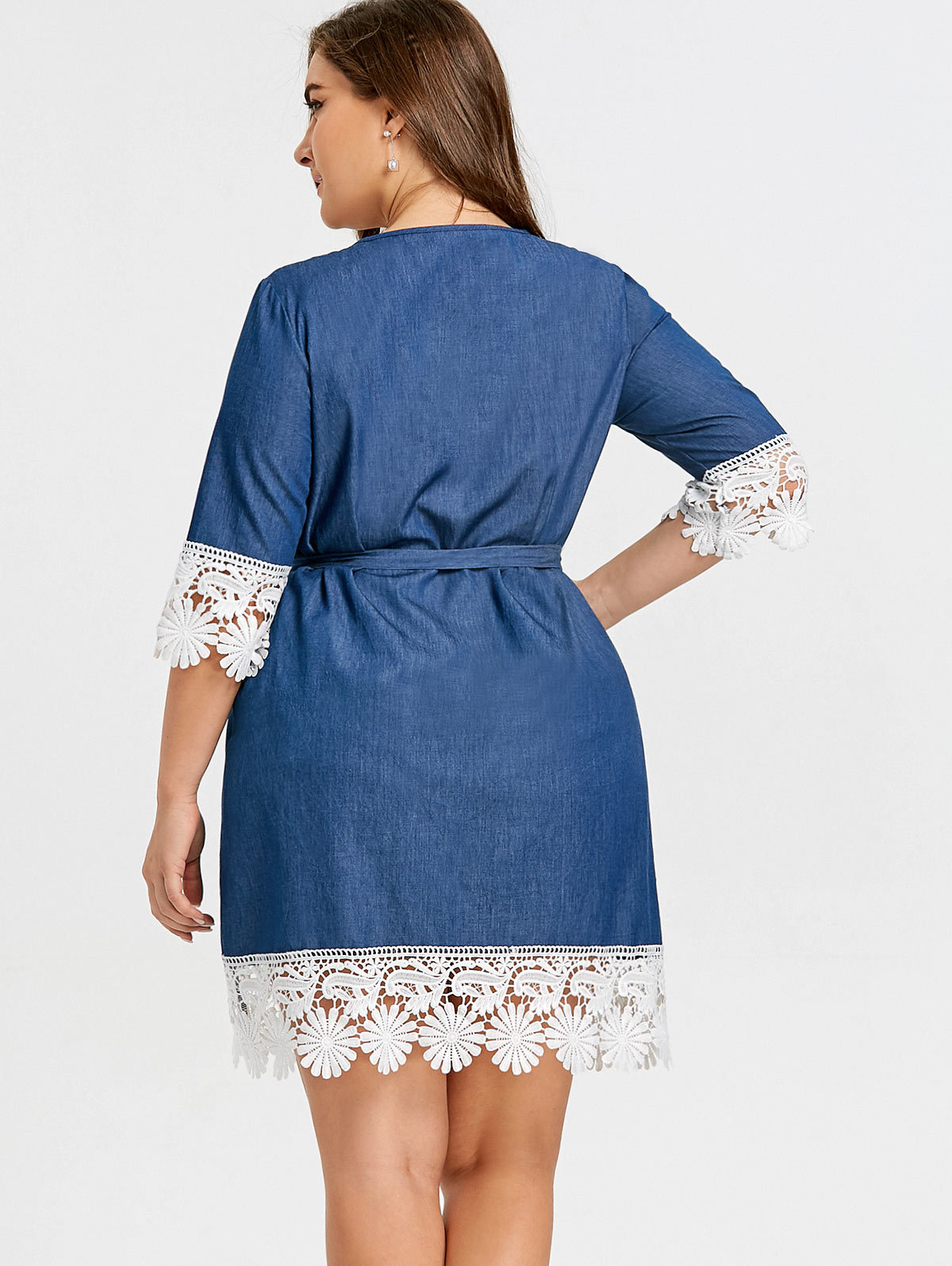5a0023edc7 Soft Denim Dress Big Size 2018 Autumn Women Half Sleeve Lace Hem Loose Blue  Tunic Jeans Dress Plus Size Clothing XL 5XL-in Dresses from Women s  Clothing on ...