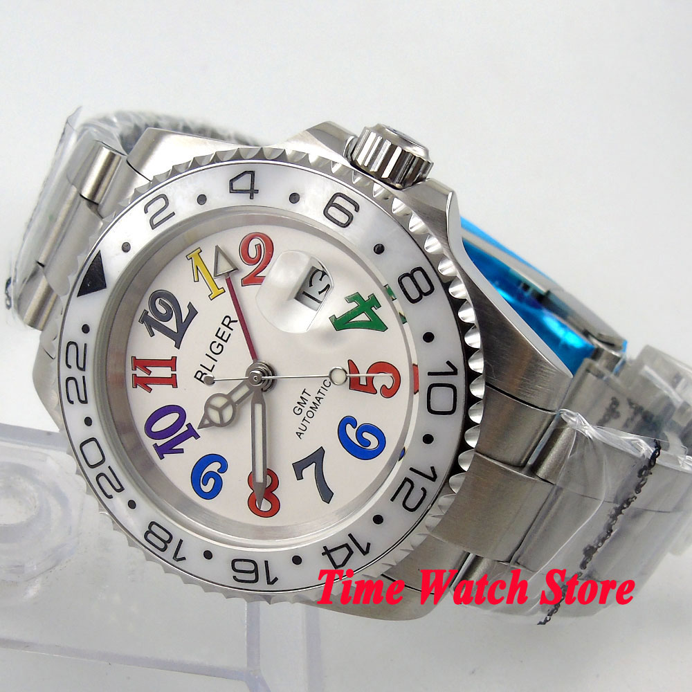 Bliger 40mm white dial date colorful marks luminous white Ceramic Bezel GMT Automatic movement Men's watch solid bliger 40mm white sterile dial blue ceramic bezel gmt function luminous hand date clcok automatic movement men s watch b51