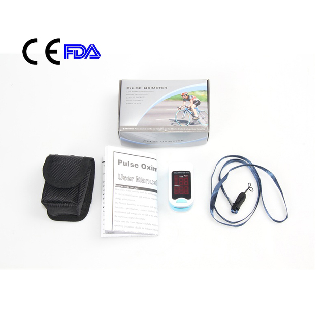 Free Shipping CE FDA Approved CMS50M Fingertip Pulse Oximeter Blood Oxygen SPO2 PR Monitor LED Screen Free Case&Rope