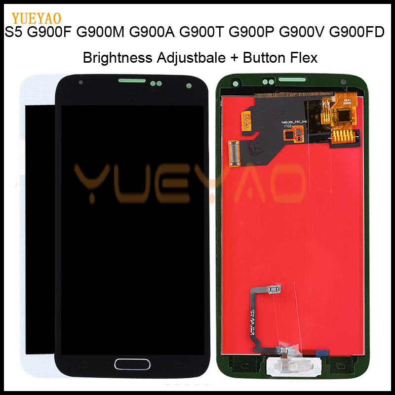 <font><b>G900F</b></font> LCD For Samsung Galaxy S5 I9600 SM-G900 LCD <font><b>G900F</b></font> G900M Display Touch Screen G900A G900T G900P G900 LCD With Home Button image
