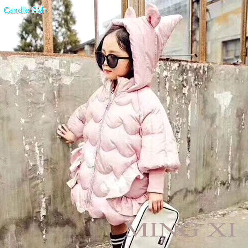 2017 winter new children's clothing girl jacket cotton girl rabbit ears cotton long section of wood ear cotton coat yagenz 2017 new feather cotton coats winter korean version of the long section of the big hair collar loose thick cotton coat