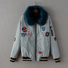 2016 Brand Winter Jacket Women Basic Coats Thick Parkas Winter Padded Down Coat Fur Collar Bomber Jacket Baseball Veste ZA S266