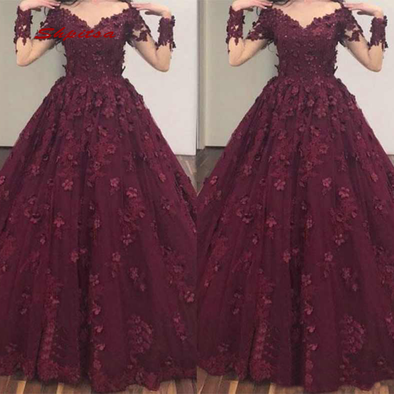 b706e8a4b825 Dark Burgundy Quinceanera Dresses Ball Gown Long Sleeve Lace Tulle Prom  Debutante Sixteen Sweet 16 Dress vestidos de 15 anos-in Quinceanera Dresses  from ...