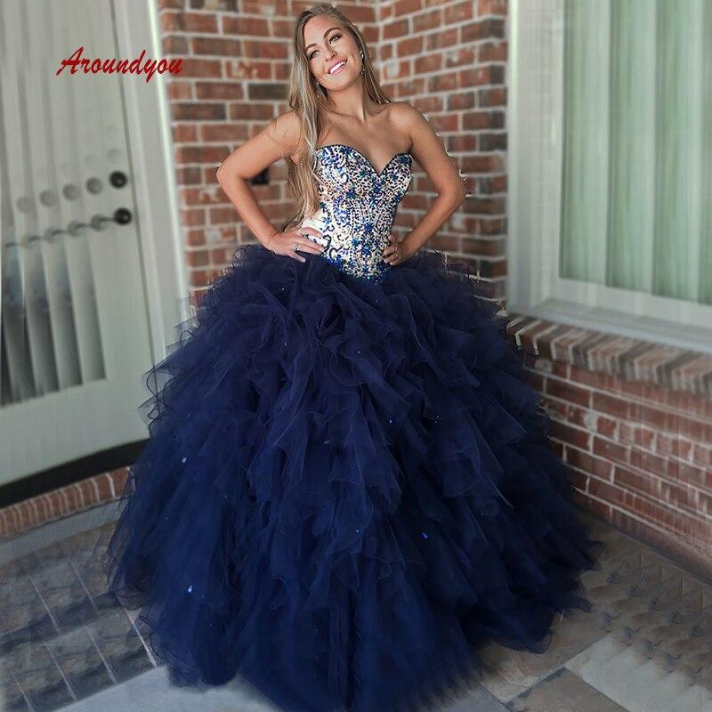 Bleu marine Quinceanera robes robe de bal longs cristaux perlés bal Debutante seize doux 16 robe vestidos de 15 anos