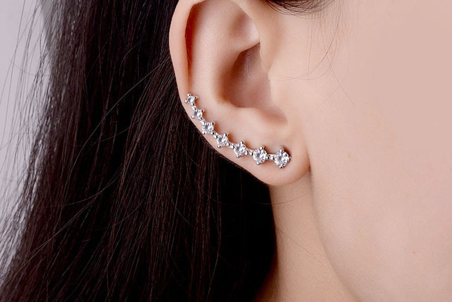 Star stud earrings Zirconia in silver