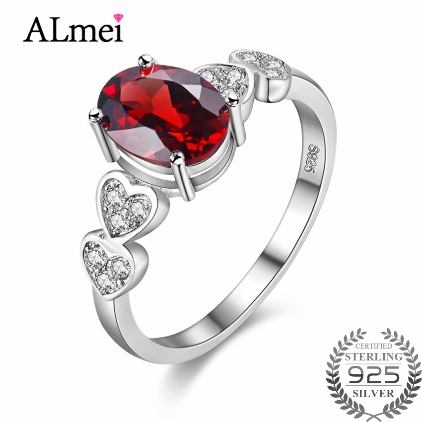 Almei 1ct Retro Red Garnet Love Heart Engagement Rings 925 Sterling Silver Costume Jewelry for Women with Gift Box 40% FJ024Almei 1ct Retro Red Garnet Love Heart Engagement Rings 925 Sterling Silver Costume Jewelry for Women with Gift Box 40% FJ024