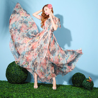 Summer Floral Chiffon Holiday Beach Bridesmaid Butterfly Sleeved Sundress Wedding Guest Long Maxi Dress Plus Sizes