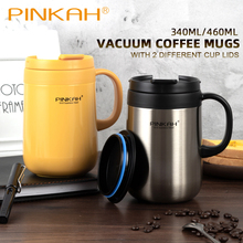 Hot Sale Pinkah 350ml 460ml Coffee Thermo Mug Office Vacuum Flasks Home Thermos Cup With Handle Insulated As Gift