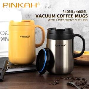 Image 3 - Offre spéciale Pinkah café Thermo tasse 350ml 460ml bureau vide flacons maison Thermos tasse avec poignée tasse isotherme Thermos comme cadeau
