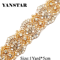 YANSTAR Handmade 5CM*1Yard Sewing Bridal Beaded Rose Gold Clear Crystal Rhinestones Appliques Trim For Wedding Dress Belt YS821