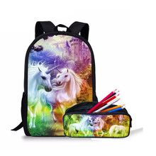 Nouveau sac à dos pour enfants femmes Minnie licorne fou cheval impression arc-en-ciel poney sac cartable Set sac à dos enfants chiot crayon sac(China)