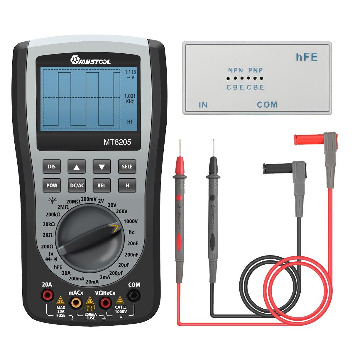 MUSTOOL MT8205 2 em 1 Handheld Osciloscópio De Armazenagem Digital Inteligente Multímetro Atual Resistência Tensão Tester Frequência