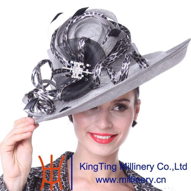 Kueeni Women Hats Sun Hats Patchwork Feather Elegant Lady Party Dress Wear  Fedoras Wide Brim Large Size Summer Party Fedoras Hat 519d49a400e