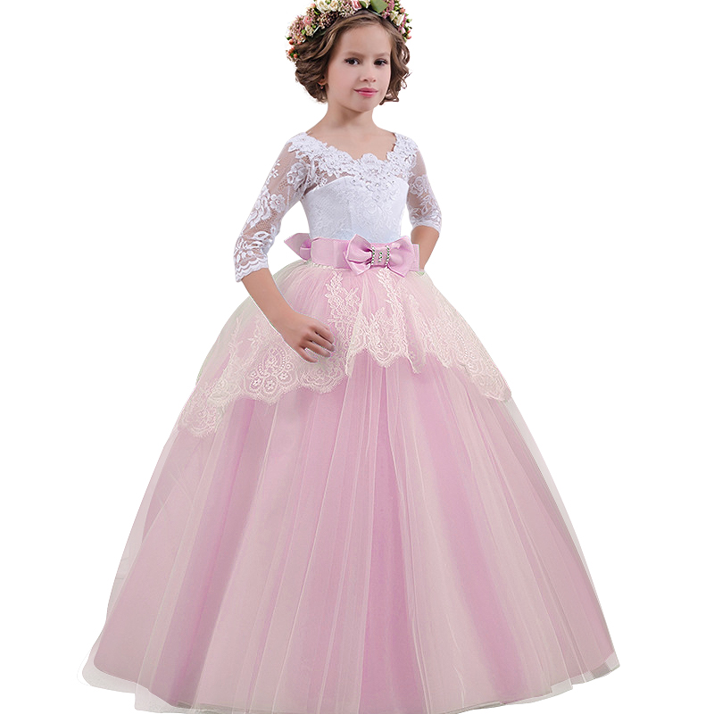 Bow Lace Dresses For Children Flower Girl Embroidery Formal Dress Kids V-Back Clothing Girls Wedding Party Long Gown Vestido свадебное платье wedding dress v vestido noiva w1201