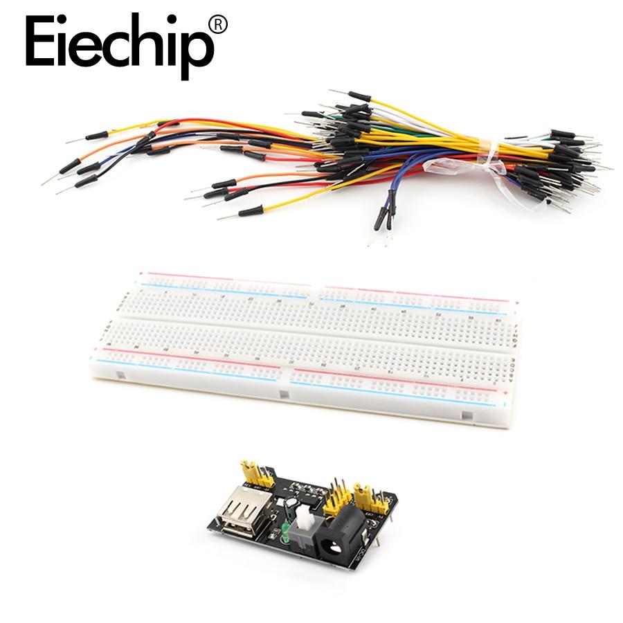 MB102 Breadboard Power Module+MB102 830 Points Solderless Prototype Bread Board+65 Breadboard Jumper Wires For Arduino Kit