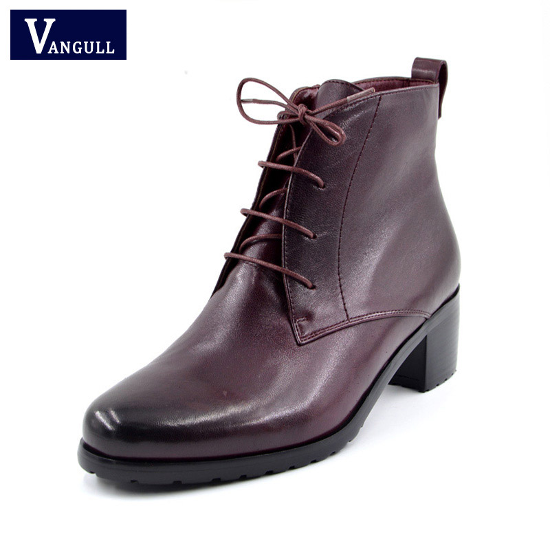 VANGULL New Genuine leather Sheepskin suede laces shoes woman ankle boots high heels round toe Autumn 35-40 size Wine red bassiriana new 2017 winter high boots shoes woman high heels round toe zipper genuine leather and suede black 35 40 size