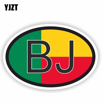 YJZT 14.6CM*9.7CM Car Sticker Creative BENIN BJ Country Code Flag Motorcycle Decal 6-0493 image