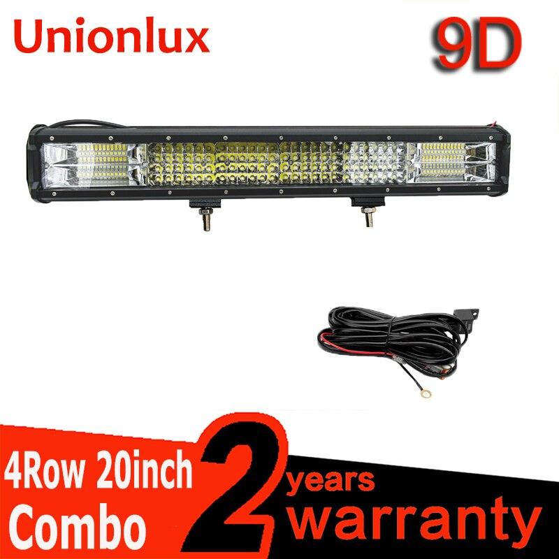 20 pouces 432W 20 ''barre de LED Quad rangées support mobile haute puissance 9D LED barre lumineuse de travail Offroad 4x4 Auto voiture lampe de conduite 12V 24V