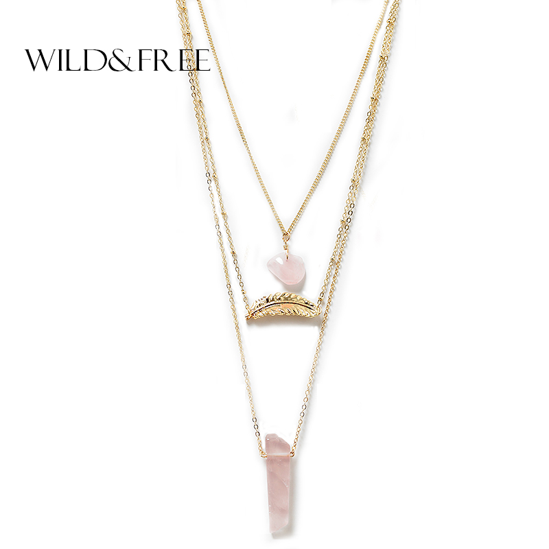Women 3 Layer Necklace & Pendant Gold Leaf Pink Natural Stone Multilayer Sweater Chain Collar Necklace Jewelry Gift necklace