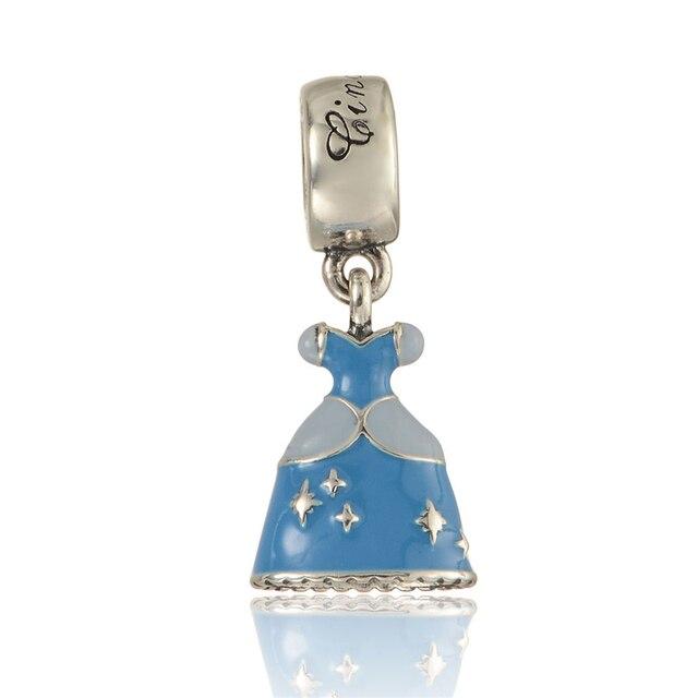 Cinderella's Dress Blue Beads Fit Pandora Charms Silver 925 Original Bracelet Fashion New DIY Disny Beads for Jewelry Making