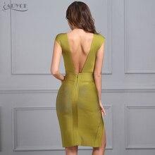 V-Neck Backless Hollow Out Split Bandage Dress